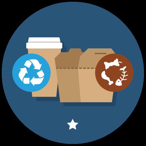 Utilise des contenants recyclables ou compostables